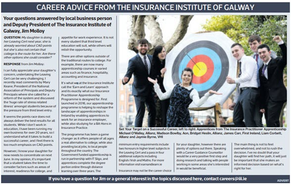 Career Advice  from Insurance Institute of Galway